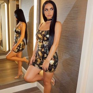 Carli Bybel x Missguided Camo Sequin Dress